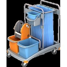 Καρότσι καθαρισμού με 2 κάδους και πρέσσα , καλάθι αναλωσίμων και σάκο αποριμμάτων