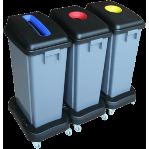 Κάδος ανακύκλωσης 3 x 60lt με καπάκι και ρόδες Κάδοι Ανακύκλωσης