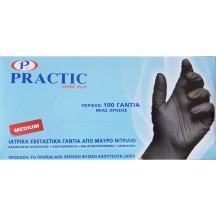 Γάντια νιτριλίου μαύρα χωρίς πούδρα μιας χρήσης - σετ 100 τμχ.