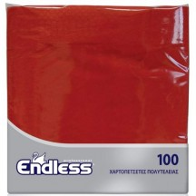 Χαρτοπετσέτα κόκκινη και μαύρη, 2Φ, 38 x 38 εκ., πολυτελείας, Endless