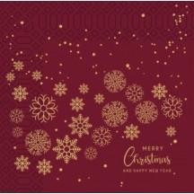 Χριστουγεννιάτικη Χαρτοπετσέτα Μπορντώ, 2Φ, 33 x 33 εκ., 85 τεμ.
